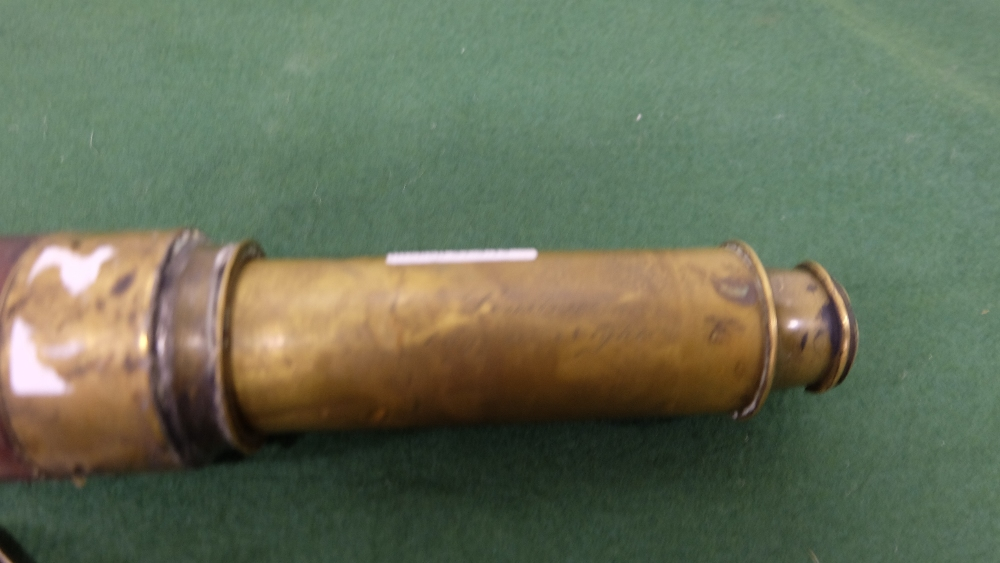 """Lot 53 - """"London Day or Night"""" brass Telescope in mahogany case (case and glass damaged) and a modern gun"""