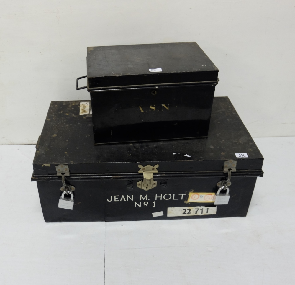 """Lot 52 - Black metal Deed Box, 16""""w and a larger metal Case (with padlocks, stamped HOLT) (2)"""
