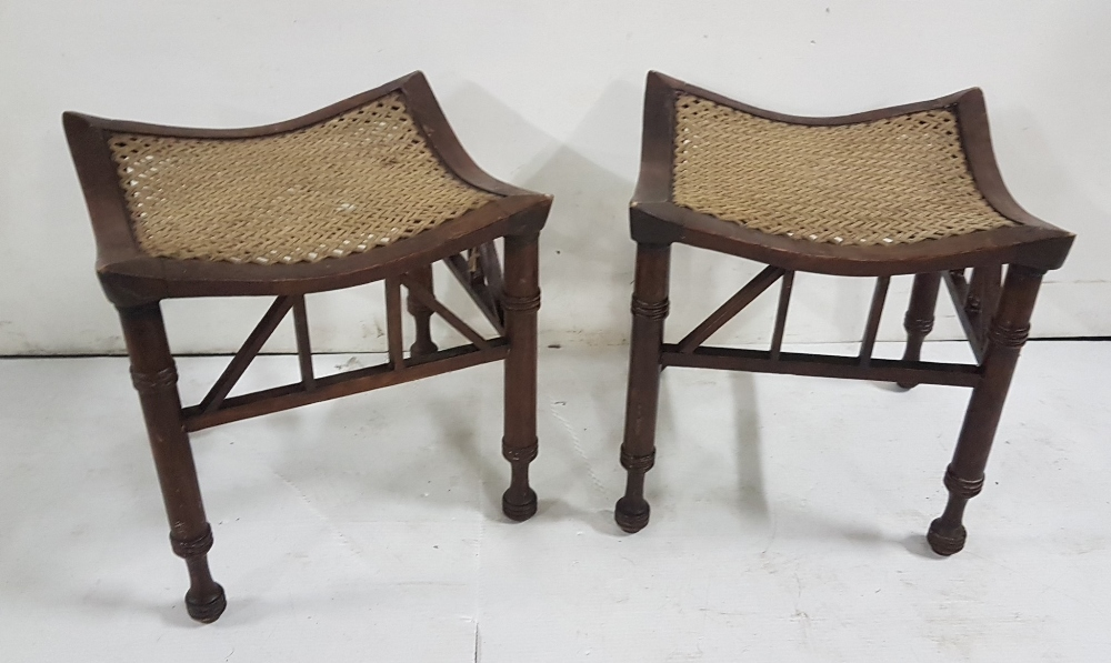 "Lot 15 - Matching Pair of shaped foot Stools with roped lattice curved seats, turned legs, 15""w x 13""h x 14""d"