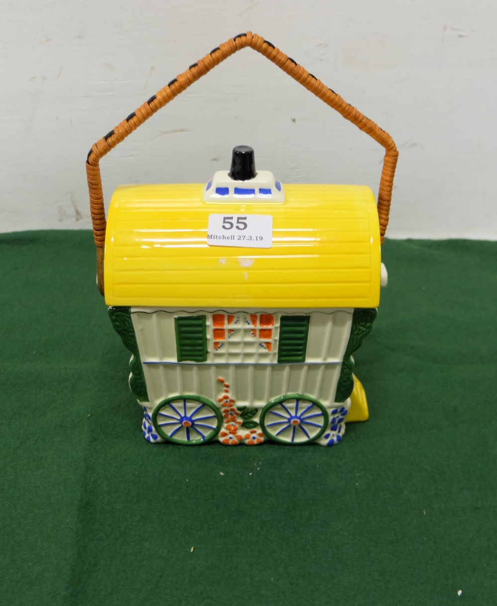 """Lot 55 - Painted Pottery Jar / Model of a Romany Caravan, with carrying handle and a lid, 8""""h"""