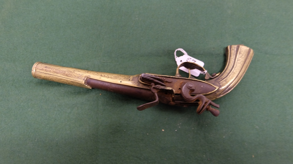 """Lot 57 - Indian Pistol with brass mounted muzzle, 14""""long"""