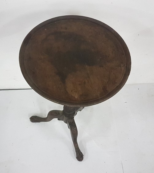 Lot 18 - Georgian Mahogany Wine Table, the rimmed circular top over a tripod base, ball and long claw feet